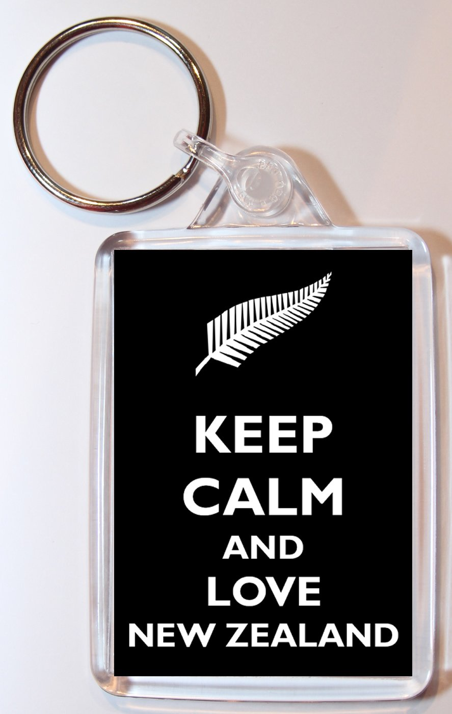 Keep Calm and Love New Zealand - Double Sided Large Keyring Key Ring Fob  Chain Name Tag Gift Present Souvenir